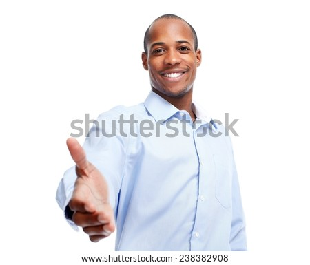 African-American businessman handshake  isolated white background - stock photo
