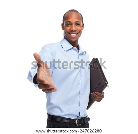 African-American businessman handshake isolated white background - stock photo