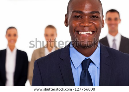 african american businessman in front of group colleagues - stock photo