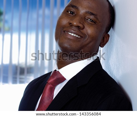 African American businessman , in office