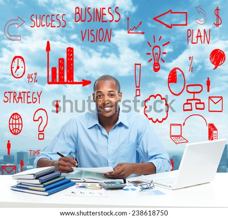 African-American Businessman over business office background - stock photo