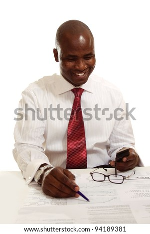 African American businessman reading a newspaper, isolated on white