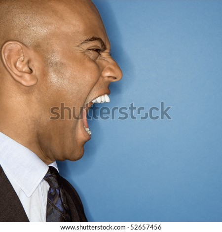 African American businessman screaming. - stock photo