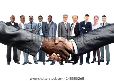 African American businessman shaking hands with caucasian  - stock photo