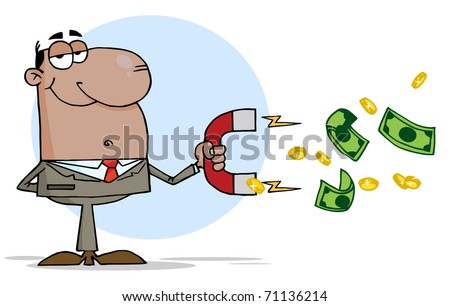 African American Businessman Using A Magnet To Attracts Money - stock photo