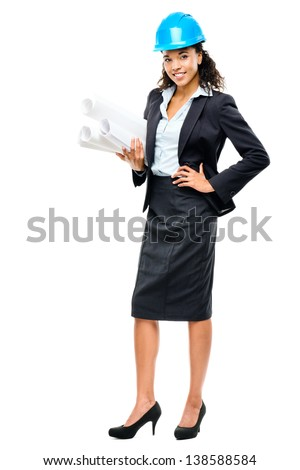 African American businesswoman architect holding blueprints isolated on white background