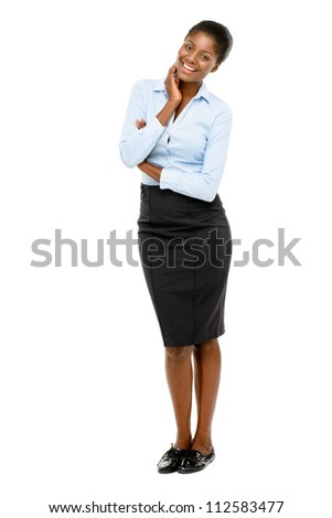 African American businesswoman full length portrait isolated on white background
