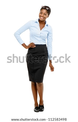 African American businesswoman full length portrait isolated on white background - stock photo