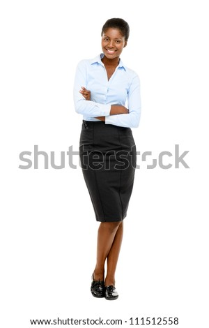 African American businesswoman full length portrait on white background