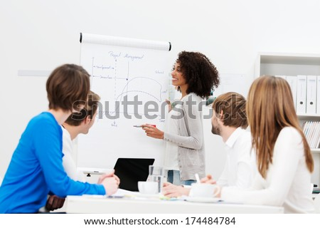 African American businesswoman giving a presentation to her colleagues at work as they plan a new business strategy together - stock photo