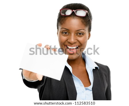 African American businesswoman holding white card isolated on white background - stock photo