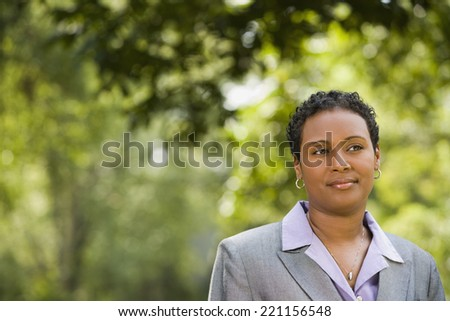 African American businesswoman outdoors - stock photo