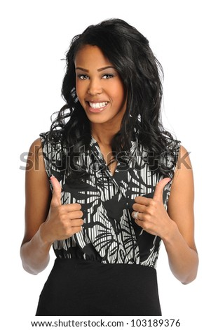 African American businesswoman showing the thumbs up isolated over white background