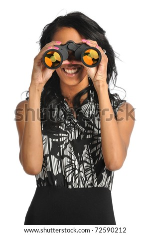 African American businesswoman using binoculars isolated over white background - stock photo