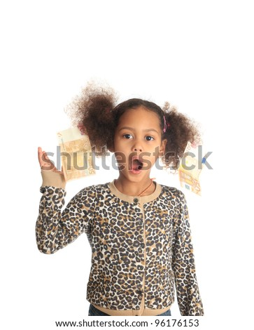 African American child with Asiatic black money on hair metisse curly euros - stock photo