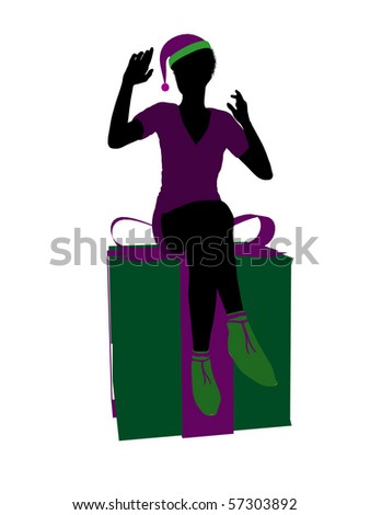 African american christmas elf sitting on a gift box illustration silhouette on a white background