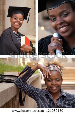 African American college student collage graduating with mortarboard and diploma or scroll - stock photo