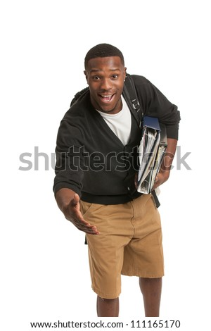 African American College Student Hand Shake Gesture Casual Dressed Young Man Isolated on White Background - stock photo