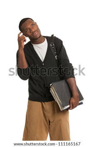 African American College Student Thoughtful Expression Casual Dressed Young Man Isolated on White Background