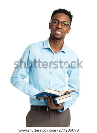 African american college student with books and bottle of water in his hands standing on white background - stock photo