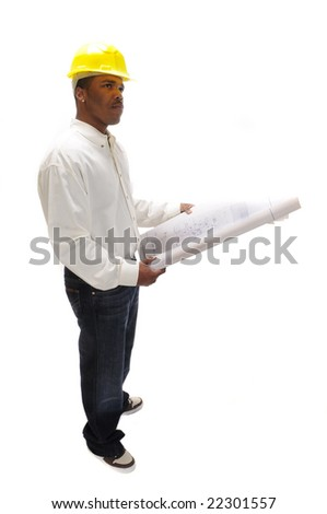 African American Contractor studying plans - stock photo