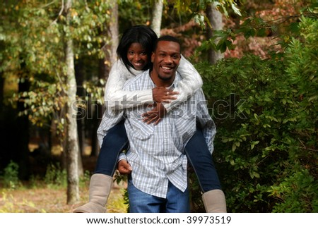 African-American couple enjoying the outside fall weather