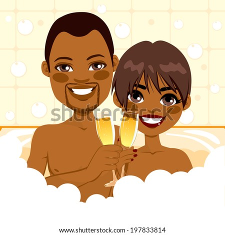 African American couple making toast with champagne in bathtub enjoying bubble bath relax together - stock photo