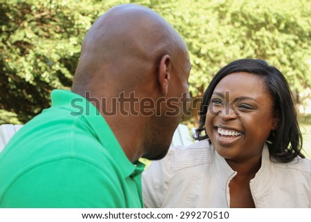 African American Couple Talking  - stock photo