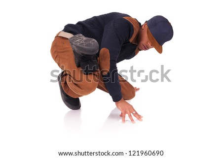 African American dancer hip hop  isolated - stock photo