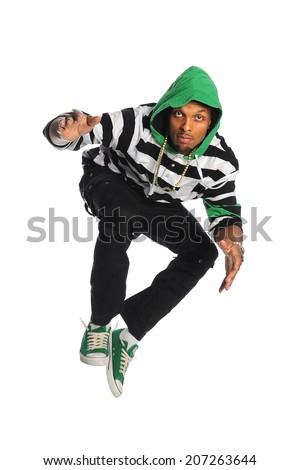 African American dancer jumping isolated over white background - stock photo
