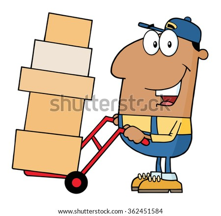 African American Delivery Man Cartoon Character Using A Dolly To Move Boxes. Raster Illustration Isolated On White - stock photo