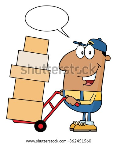African American Delivery Man Cartoon Character Using A Dolly To Move Boxes With Speech Bubble. Raster Illustration Isolated On White - stock photo