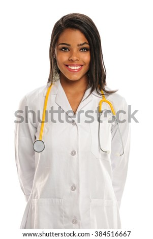 African American doctor or nurse smiling isolated over white background