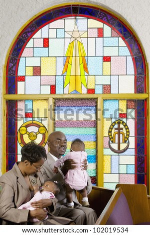 African American family in church - stock photo