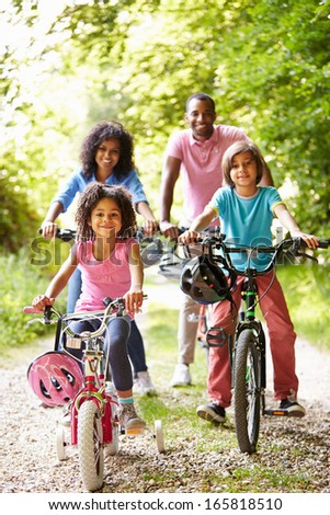 African American Family On Cycle Ride In Countryside - stock photo