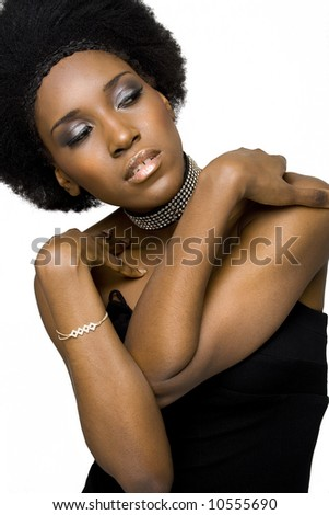 African American fashion model with afro hairstyle.