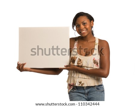 African American Female Holding Blank Board on Isolated White Background - stock photo