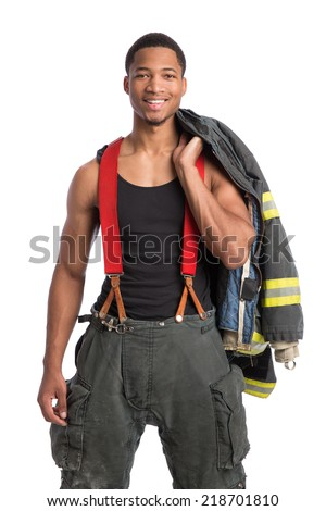 African American Firefighter Off Duty Standing portrait isolated on white Background - stock photo