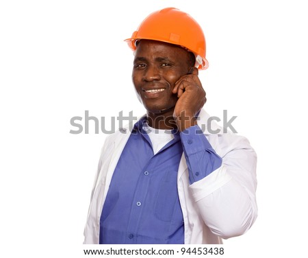 African american foreman talking on the phone , isolated on white background