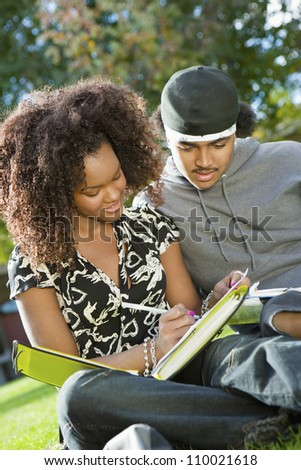 African American friends studying together