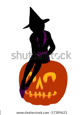 African american halloween witch silhouette illustration on a white background