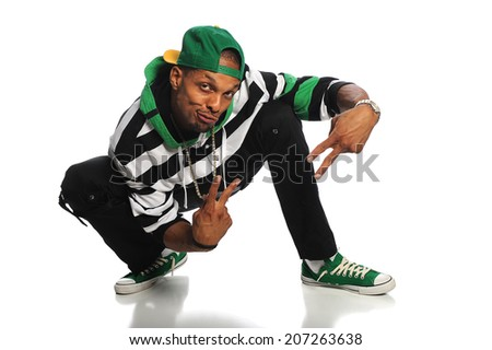 African American hip hop dancer isolated over white background - stock photo