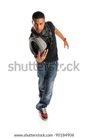 African American hip hop dancer with hat isolated over white background - stock photo