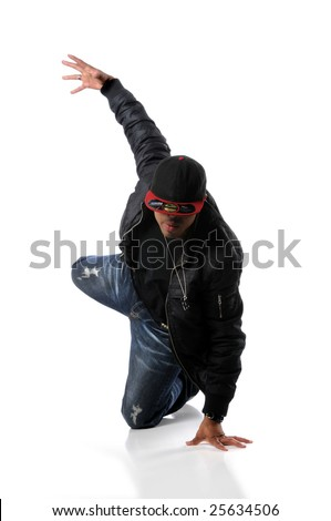 African American hip hop dancing performing over a white background