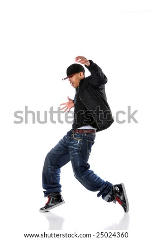 African American hip hop man dancing isolated over white - stock photo