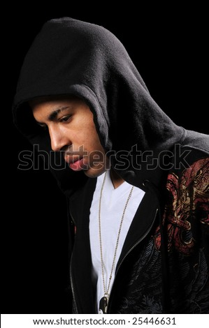 African American hip hop man wearing hood isolated over black - stock photo