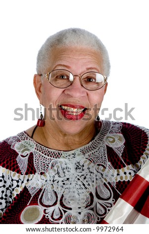 african american lady with american flag