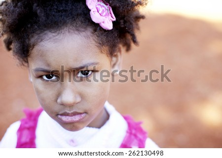 African american little girl portrait - stock photo
