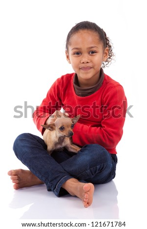 African American little girl with her pet, isolated on white background - stock photo