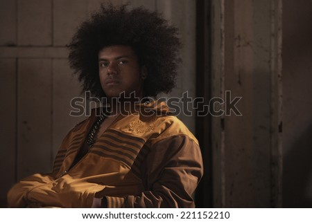 African American male breakdancer with afro - stock photo